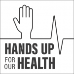 Hands up for our Health logo (grey)